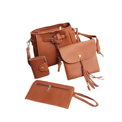 ZESTAW 4w1: torebka, saszetka, etui, portfel BRĄZOWY