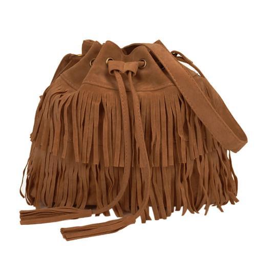 duża damska torebka boho worek frędzle czarna ws1001